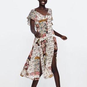 NWT Zara floral patches flowy midi dress S